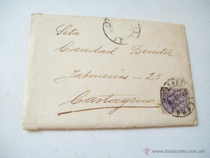 SOBRE - CARTA.- FERROL-CARTAGENA.- 27 DE JUNIO DE 1913 (Sellos - España - Alfonso XIII de 1.886 a 1.931 - Usados)