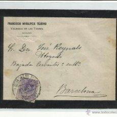 Sellos: CIRCULADA 1916 DE VALENCIA DE LAS TORRES LLERENA BADAJOZ A BARCELONA. Lote 44649634