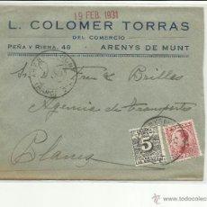 Sellos: CIRCULADA 1931 ALFONSO XIII VAQUER PERFIL DE ARENYS DE MUNT BARCELONA A BLANES GIRONA VER FOTO. Lote 44662926
