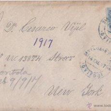 Sellos: SOBRE DE SAN ESTEBAN (ASTURIAS) A NUEVA YORK. 25 CTS. AZUL MEDALLÓN. FECHADOR AZUL. 1917.. Lote 44699853