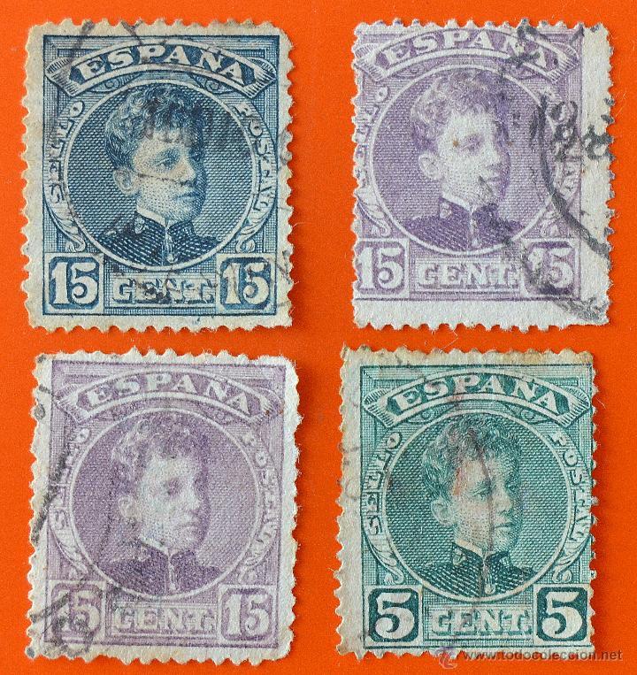 LOTE 4 SELLOS ALFONSO XIII - 15 CENTIMOS Y 5 CENTIMOS (Sellos - España - Alfonso XIII de 1.886 a 1.931 - Usados)
