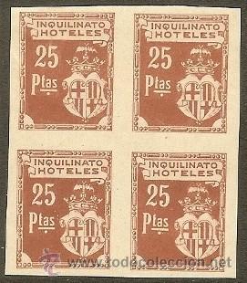 FISCALES - BARCELONA. INQUILINATO HOTELES (12 PRUEBAS EN BLQ. DE 4) 1927 (Sellos - España - Alfonso XIII de 1.886 a 1.931 - Nuevos)