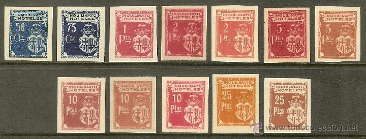 FISCALES - BARCELONA. INQUILINATO HOTELES (12 PRUEBAS DIFERENTES) (Sellos - España - Alfonso XIII de 1.886 a 1.931 - Nuevos)