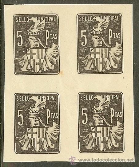 FISCALES - BARCELONA SELLO MUNICIPAL 5 PESETAS BLQ. DE 4 (PRUEBAS) (Sellos - España - Alfonso XIII de 1.886 a 1.931 - Nuevos)