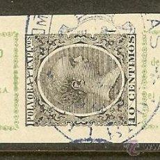 Sellos: FISCALES - PÓLVORA Y EXPLOSIVOS. 1895/96. FAJITA DE 0,10 PTAS. VERDE AMARILLO Y NEGRO. Lote 45000915