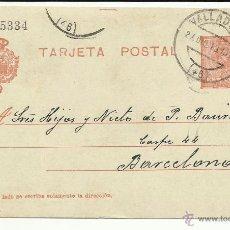 Francobolli: TARJETA POSTAL EDIFIL 49 CIRCULADA Y ESCRITA 1913 DE VALLADOLID A BARCELONA. Lote 45012127