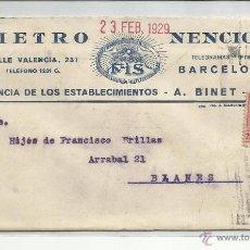 Sellos: CIRCULADA 1929 DE BARCELONA A BLANES GIRONA GERONA. Lote 45213503