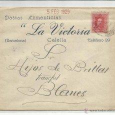 Sellos: CIRCULADA 1929 DE CALELLA BARCELONA A BLANES GIRONA GERONA . Lote 45213665