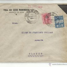 Sellos: CIRCULADA 1929 DE ARENYS DE MAR BARCELONA A BLANES GIRONA GERONA CON SELLO LOCAL. Lote 45213697