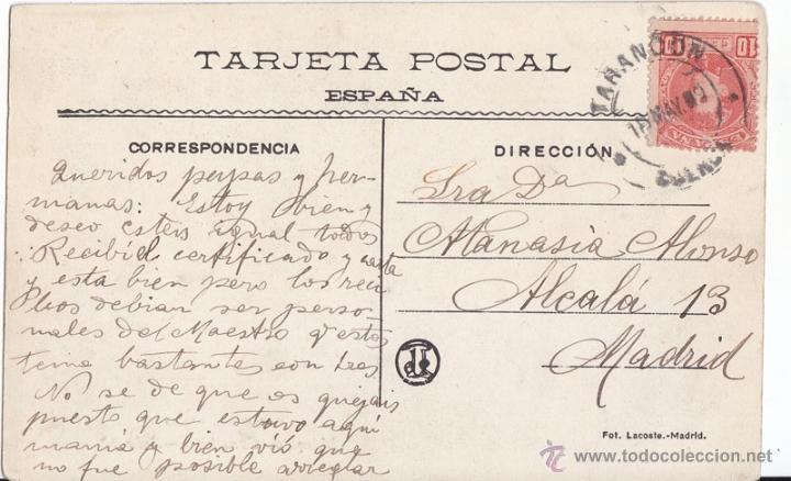 POSTAL CIRCULADA DE TARANCÓN. CUENCA. 1909 CON SELLO DE CADETE. (Sellos - España - Alfonso XIII de 1.886 a 1.931 - Cartas)