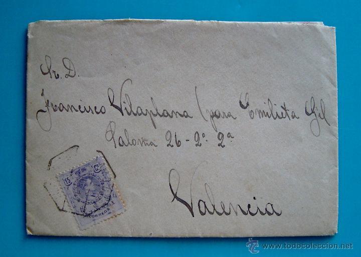 CARTA CON MATASELLO AMBULANTE DESCENDENTE DESDE MADRID PARA VALENCIA AÑO 1917 EDIFIL 270 (Sellos - España - Alfonso XIII de 1.886 a 1.931 - Cartas)