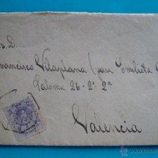 Sellos: CARTA CON MATASELLO AMBULANTE DESCENDENTE DESDE MADRID PARA VALENCIA AÑO 1917 EDIFIL 270. Lote 45725074