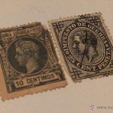 Sellos: LOTE 2 SELLOS - 1876 25 CENTIMOS IMPUESTO DE GUERRA / 1902 GUINEA ESPAÑOLA 10 CENTIMOS. Lote 45933125