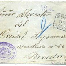 Sellos: ESPAÑA 1927 .SOBRE CERTIFICADO EN FRANQUICIA DE LA SECRETARIA DEL CORREO CENTRAL A MADRID. Lote 45957885