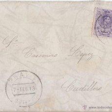 Sellos: SOBRE DE PRAVIA A CUDILLERO. ASTURIAS. 15 CTS. MEDALLÓN. 1913. Lote 46087900
