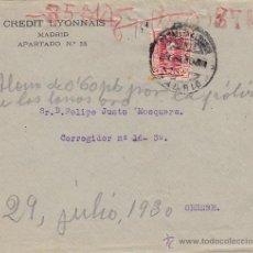 Sellos: CARTA CREDIT LYONNAIS PERFORADO 25 CTS VAQUER 1930 .MADRID NORTE /ORENSE RODILLO CON ESCRITO AGENCIA. Lote 46228847