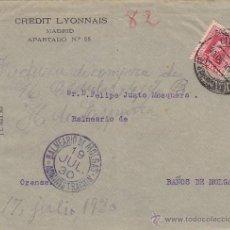 Sellos: CARTA CREDIT LYONNAIS PERFORADO 25 CTS VAQUER 1930 .MADRID / BALNEARIO DE MORGAS (ORENSE CON ESCRITO. Lote 46228889