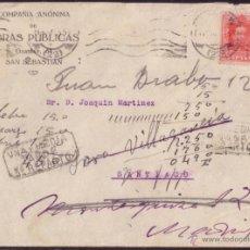 Sellos: ESPAÑA. (CAT. 317). 1925. SOBRE DE SAN SEBASTIÁN. 25 CTS. VARIAS REEXPEDICIONES. MANUSCRITO DORSO.. Lote 46296480
