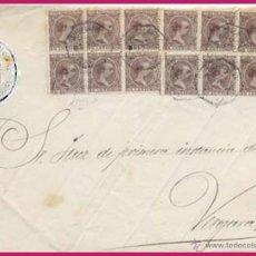 Sellos: 1898.- ALFONSO XIII.- FRONTAL DE PLICA CON 12 SELLOS PELON DE VILLARREAL A VERGARA Y MAT. AMBULANTE. Lote 47088886