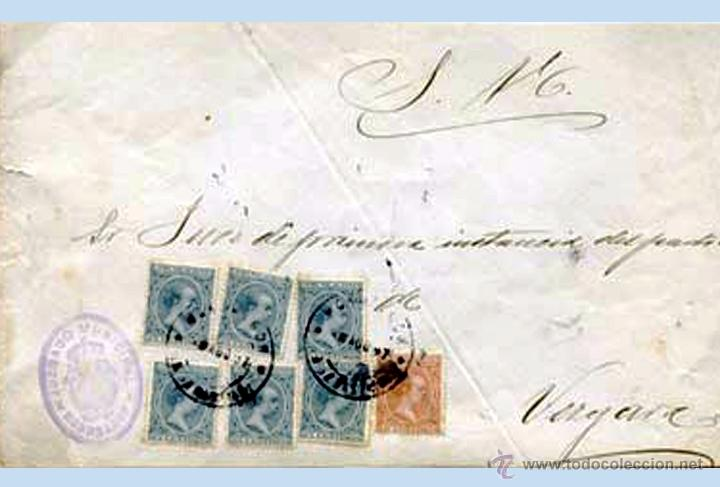 1897.- PLICA BICOLOR DEL JUZGADO DE MONDRAGON A VERGARA CON 7 SELLOS DEL PELON. REV. FECH.DE VERGARA (Sellos - España - Alfonso XIII de 1.886 a 1.931 - Cartas)