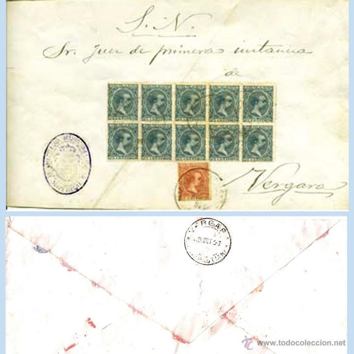 1897.- PLICA BICOLOR DEL JUZGADO DE MOTRICO A VERGARA CON 11 SELLOS DEL PELON. REV. FECH.DE VERGARA (Sellos - España - Alfonso XIII de 1.886 a 1.931 - Cartas)