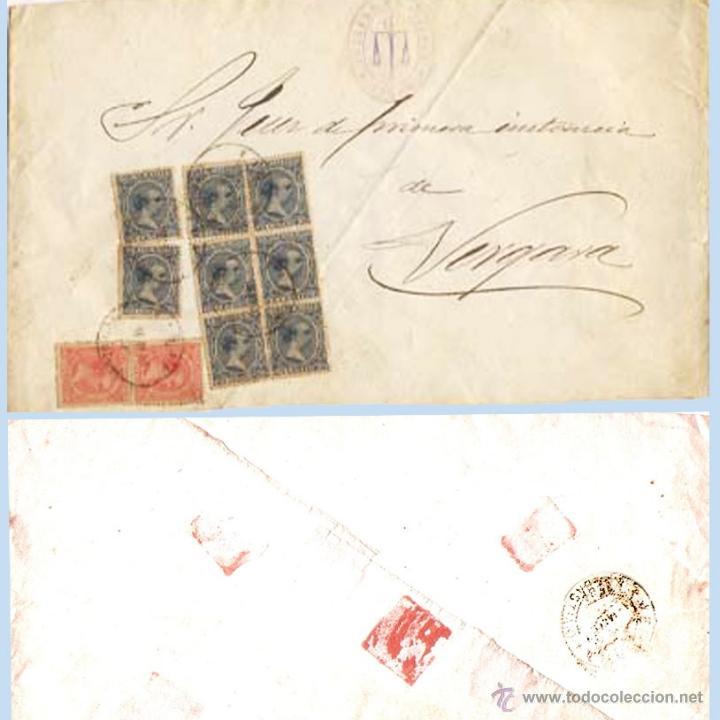 1900.- PLICA BICOLOR DEL JUZGADO DE EIBAR A VERGARA CON 10 SELLOS DEL PELON. REV. FECH.DE VERGARA. (Sellos - España - Alfonso XIII de 1.886 a 1.931 - Cartas)