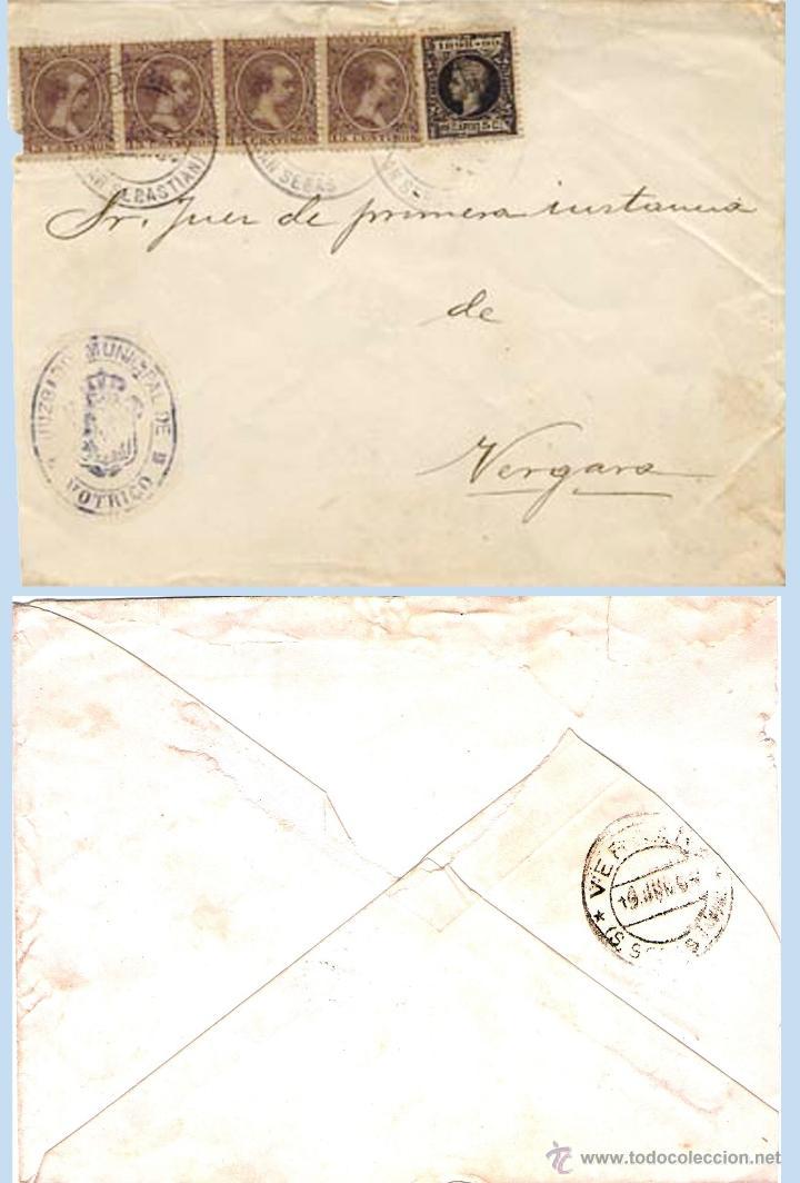 1899.-PLICA MIXTO DEL JUZGADO DE MOTRICO A VERGARA Y 5 SELLOS DE ALFONSO XIII. REV. FECH.DE VERGARA (Sellos - España - Alfonso XIII de 1.886 a 1.931 - Cartas)