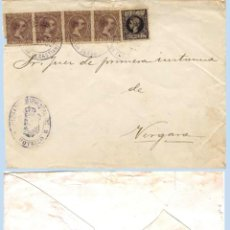 Sellos: 1899.-PLICA MIXTO DEL JUZGADO DE MOTRICO A VERGARA Y 5 SELLOS DE ALFONSO XIII. REV. FECH.DE VERGARA. Lote 47108633