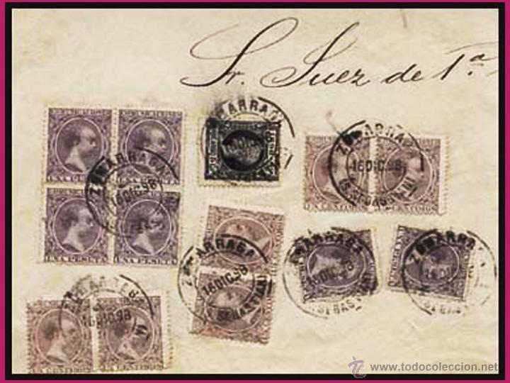 1898.- ALFONSO XIII.- FRONTAL DE PLICA CON 13 SELLOS, TOTAL 6,95 PTS. DE SALIDA Y FECH. DE ZUMARRAGA (Sellos - España - Alfonso XIII de 1.886 a 1.931 - Cartas)