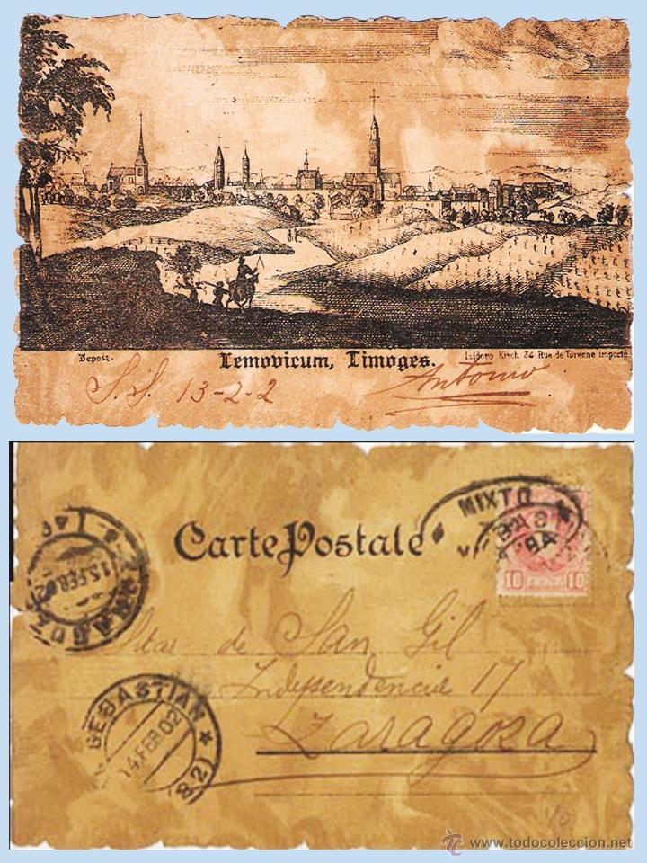 1902.- T.P. DE LIMOGES CIRCULADA DE S.SEBASTIAN A ZARAGOZA, MARCA DE TRÁNSITO MIXTO NAVARRA. LLEGADA (Sellos - España - Alfonso XIII de 1.886 a 1.931 - Cartas)