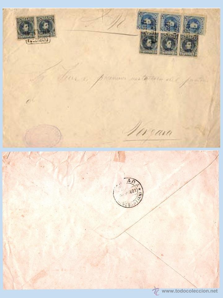 1901.- PLICA JUDICIAL DE PLACENCIA CON 8 SELLOS DEL CADETE BICOLOR Y CARTERIA CIRCULADA A VERGARA.. (Sellos - España - Alfonso XIII de 1.886 a 1.931 - Cartas)