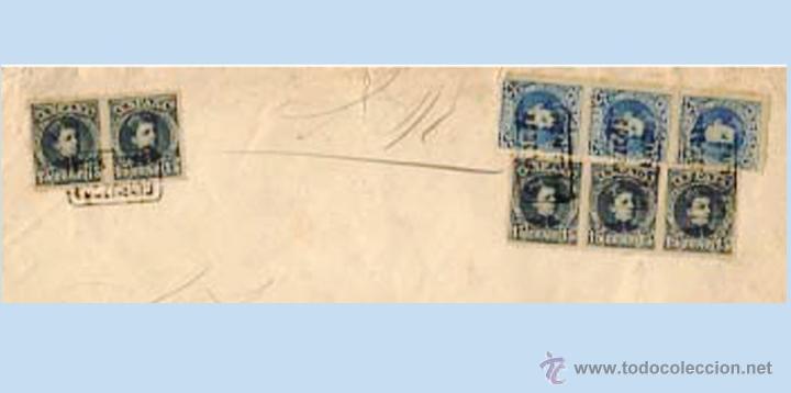 Sellos: 1901.- PLICA JUDICIAL de PLACENCIA con 8 sellos del CADETE BICOLOR Y CARTERIA circulada a VERGARA.. - Foto 2 - 47117180