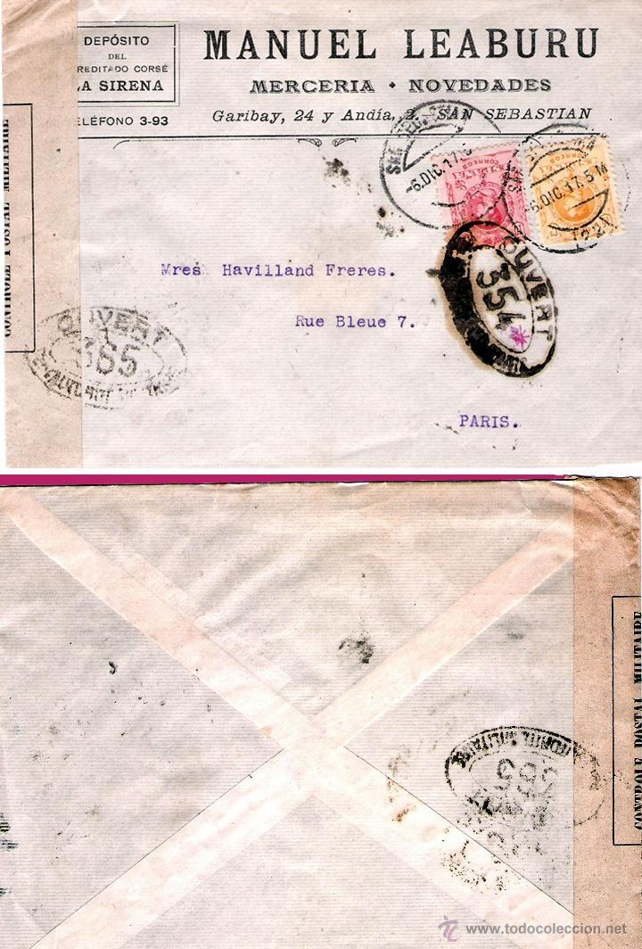 1917.- CARTA COMERCIAL DE SAN SEBASTIAN A PARIS CON MARCA Y ETIQUETA DE CENSURA FRANCESA. BICOLOR (Sellos - España - Alfonso XIII de 1.886 a 1.931 - Cartas)