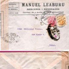 Sellos: 1917.- CARTA COMERCIAL DE SAN SEBASTIAN A PARIS CON MARCA Y ETIQUETA DE CENSURA FRANCESA. BICOLOR . Lote 47121096