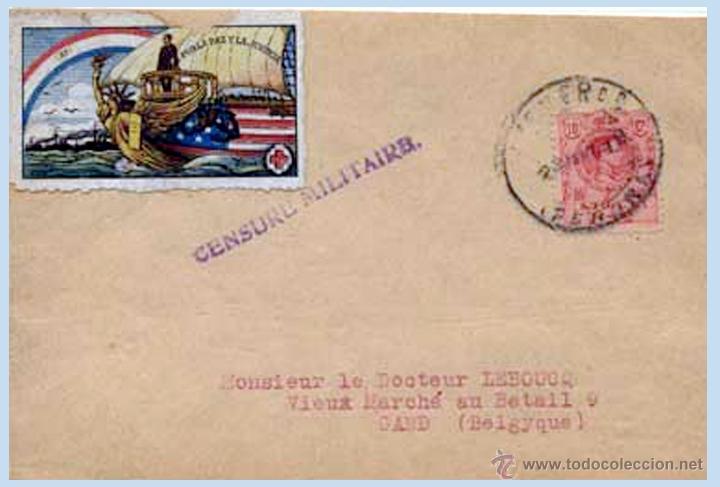 1919.- ALFONSO XIII - FRONTAL CON FECHADOR PUIGCERDA (GERONA) A BÉLGICA, CON VIÑETA DE CRUZ ROJA. (Sellos - España - Alfonso XIII de 1.886 a 1.931 - Cartas)