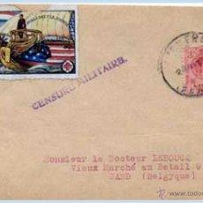 Sellos: 1919.- ALFONSO XIII - FRONTAL CON FECHADOR PUIGCERDA (GERONA) A BÉLGICA, CON VIÑETA DE CRUZ ROJA. . Lote 47271176