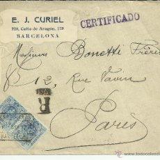 Sellos: BARCELONA CC CERTIFICADA A PARIS 1912 SELLOS MEDALLON MAT SERVICIO INTERNACIONAL AL DORSO LLEGADA. Lote 47348458