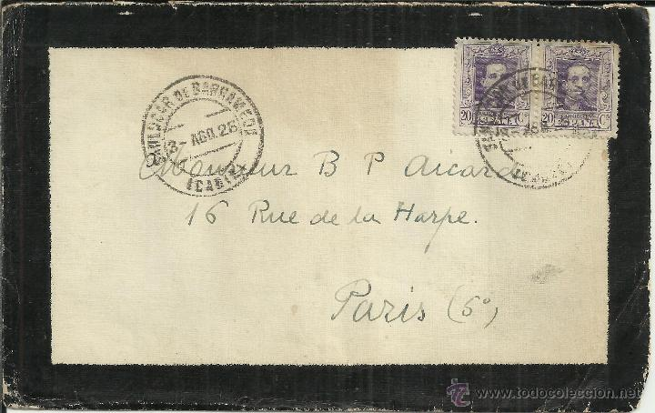 SANLUCAR DE BARRAMEDA CADIZ C DE LUTO A PARIS 1928 FRANQUEO 40 CTS (Sellos - España - Alfonso XIII de 1.886 a 1.931 - Cartas)