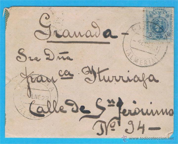1923 FIÑANA (ALMERIA) A GRANADA EDIFIL 274 (Sellos - España - Alfonso XIII de 1.886 a 1.931 - Cartas)