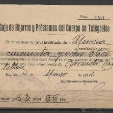 Sellos: E29- HISTORIA POSTAL,FISCALES ,CAJA DE AHORROS Y PRESTAMOS DEL CUERPO DE TELEGRAFOS MURCIA AÑO 1915,. Lote 47777430