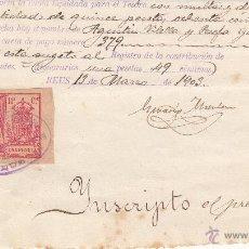 Sellos: FISCALES - POLIZA 1 PESETA AÑO 1903- CON MATASELLOS DE REUS.. Lote 47937391