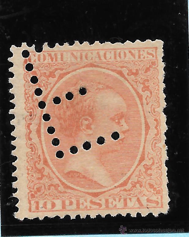 ESPAÑA. SELLO DE 10 PTAS ALFONSO XIII CON PERFORACION E (Sellos - España - Alfonso XIII de 1.886 a 1.931 - Usados)