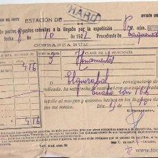Sellos: LINEAL DE FERROCARRIL. HARO. RIOJA. CON EL BILLETE DE TREN. FERROCARRILES. 1927. RARO.. Lote 48540027
