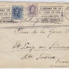 Sellos: CARTA MAT RODILLO 1924 - CLARIDAD DIRECCIÓN - MADRID / FRANCIA FRANQUEO ALFONSO XIII VAQUER . Lote 48664437