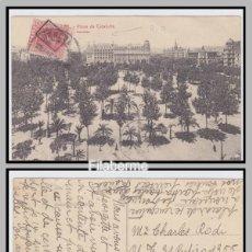 Selos: TARJETA POSTAL PLAZA DE CATALUÑA BARCELONA RARA MARCA MATASELLOS 1925 BARCELONA / ARGENTINA . Lote 48670114