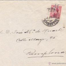 Sellos: CARTA ORIGEN VALLADOLID 1931 / PAMPLONA FRANQUEO ALFONSO XIII VAQUER PERFIL - LLEGADA DORSO. Lote 48720778