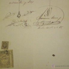 Sellos: 1892 MOJADOS. SELLO COLEGIO NOTARIAL VALLADOLID 3 PTAS DOCUMENTO MANUSCRITO FISCAL 12º DE 75 CTS. . Lote 49034320