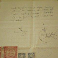 Sellos: 1923 MIERES (ASTURIAS) SELLOS COLEGIO NOTARIAL OVIEDO 3 Y 0,5 PTS DOCUMENTO MANUSCRITO FISCAL 5º 5 P. Lote 49046194