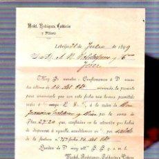Sellos: CARTA CON SELLO DE 1899. MEDEL, RODRIGUEZ, CALDERON Y PIÑERO. FACTURA. VER SELLO. Lote 49240783
