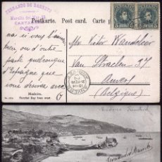 Sellos: CARTAGENA 1908, HACIA AMBERES,POSTAL A BÉLGICA - MARCA COMERCIAL PRIVADA. Lote 49273982